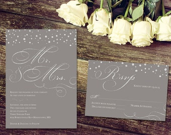 Wedding Invitation and RSVP Card - Printable or Print Options - Silver Sparkle