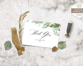 DIY Eucalyptus Wedding Thank You Card Template, Boho Watercolor Thank you, Leaves Instant Download