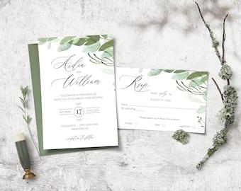 DIY Eucalyptus Wedding Invitation Template, Boho Watercolor Wedding Invite, RSVP, Leaves Template Suite, Instant Download
