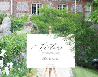 DIY Boho Eucalyptus Wedding Welcome Sign Template, Watercolor Instant Download Many Sizes Included