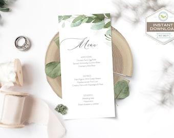 Editable Eucalyptus Wedding Menu Template, Boho Watercolor Leaves Menu, Bohemian Leaves Wedding Template Suite, Instant Download
