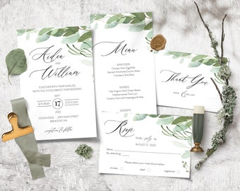 DIY Boho Eucalyptus Wedding Invitation Set Invite, RSVP, Menu, Thank You Card, Welcome Sign Template, Watercolor Instant Download