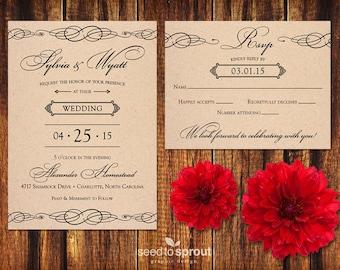 Kraft Wedding Invitation and RSVP Card - Printable or Print Options - Natural Rustic Wedding