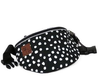 Fanny pack Hip bag Waist purse Black and white dotts