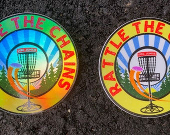 """Disc Golf, Sticker, 3"""" Inch, Rattle the Chains, Discgolf, Frisbee, Disc, Golf, Course, Throw, Flight, Sports, Outdoors, Holographic, Silver"""
