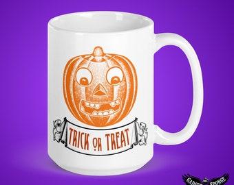 Halloween, Trick or Treat, Ceramic, Mug, Pumpkin, Jackolantern, Jack O Lantern, Orange, Lantern, October, 31, 31st, Candy, Costume