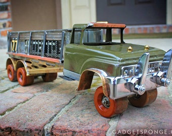 Roller Skate Copper Brass Delivery Toy Truck with Recycled Upycycled Found Items