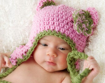 Bright Colors Bear Hat Crochet Pattern (400)