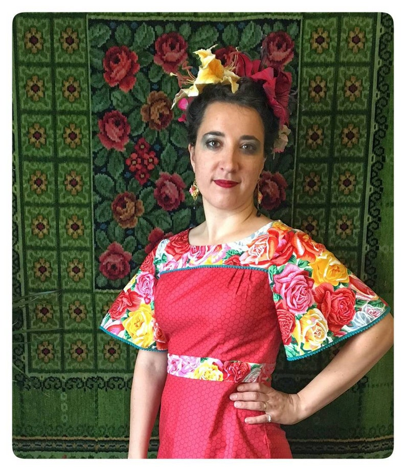Miss mexican rose dress. Only small left Frida kahlo image 0