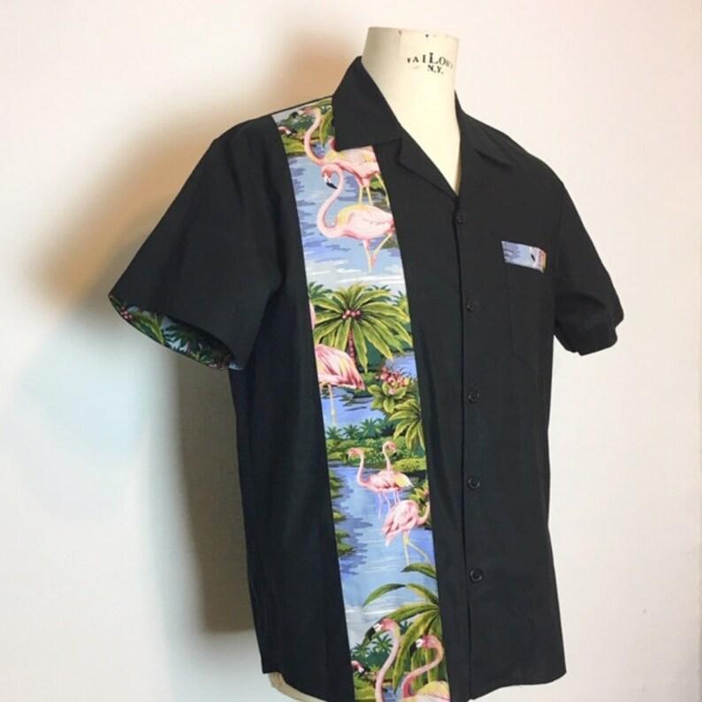 Black flamingo panel shirt only Large left image 0