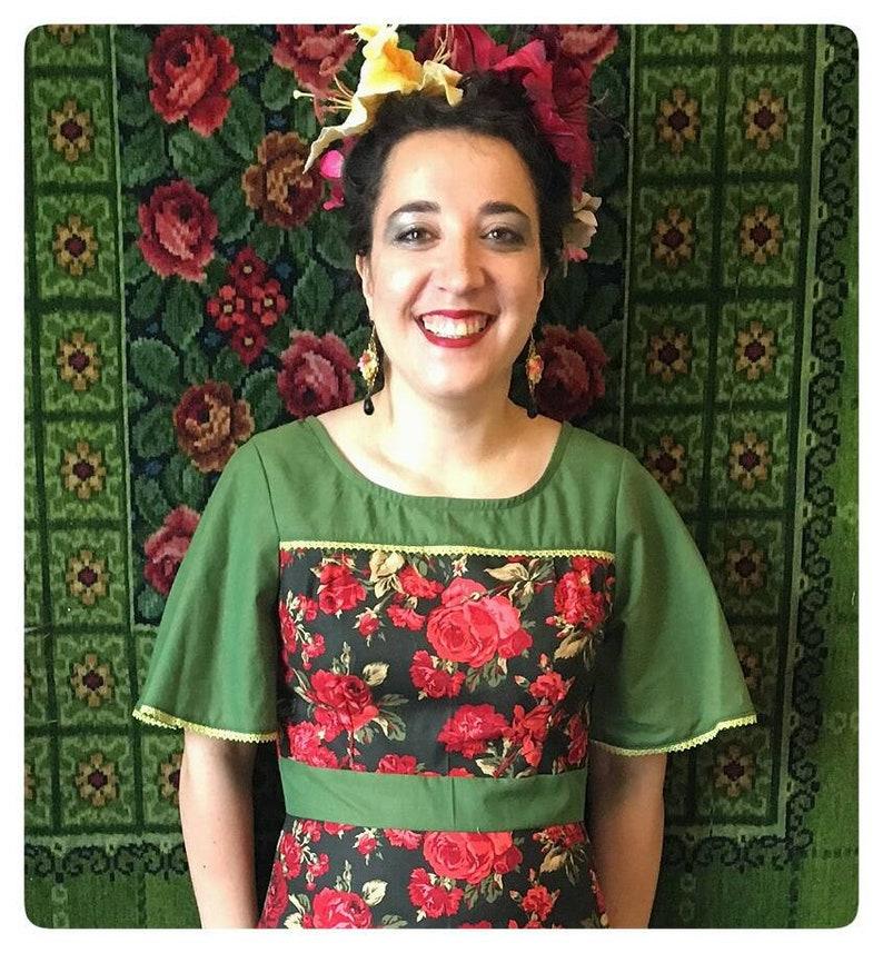 Big rose dress. Only small left Frida kahlo inspierd. image 0