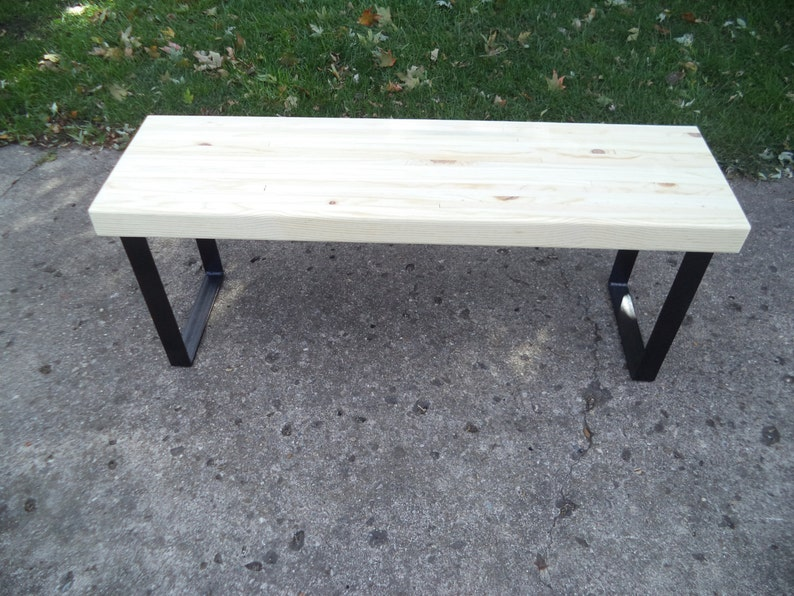 Bench Wooden Bench Coffee Table Industrial Wood And Steel Etsy