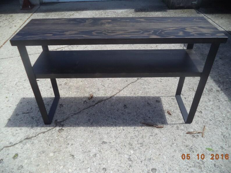 Table De Canape Industriel Et Acier Table Console Avec Bois Pieds En Acier Brut Et Metal Meuble Tv Media Center