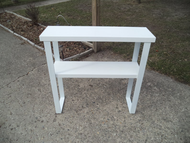 ENTRYWAY SOFA TABLE Console Entryway Media Steel Legs Hallway White White Legs Reclaimed 36 x 11 x 33