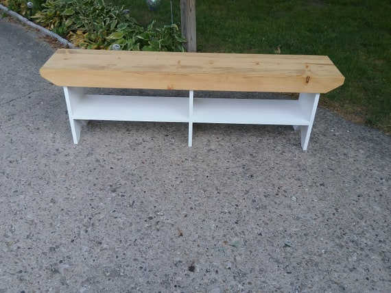 Amazing Wooden Bench Country Style Entryway Bench Mudroom Bench Bench With Shelve Golden Oak And White 60 X 12 X 18T Inzonedesignstudio Interior Chair Design Inzonedesignstudiocom
