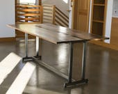 SALE - 40 off Expandable Drop-Leaf Walnut 39 Insignia 39 Dining Table, Steel 39 Nakashima 39 -Inspired Base ONLY 1 AVAILABLE