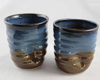 Ceramic tumbler, handleless dented pottery cup, stemless wine glasses, wheel thrown