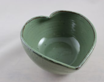 Seconds heart shaped pottery bowl, wheel thrown, altered bowl