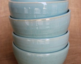 Set of 4 pottery cereal bowls, stoneware, wheel thrown