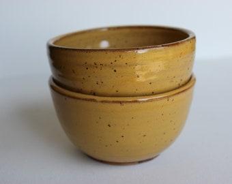 Small stacking bowl set of 2, ceramic ramekins, wheel thrown, stoneware