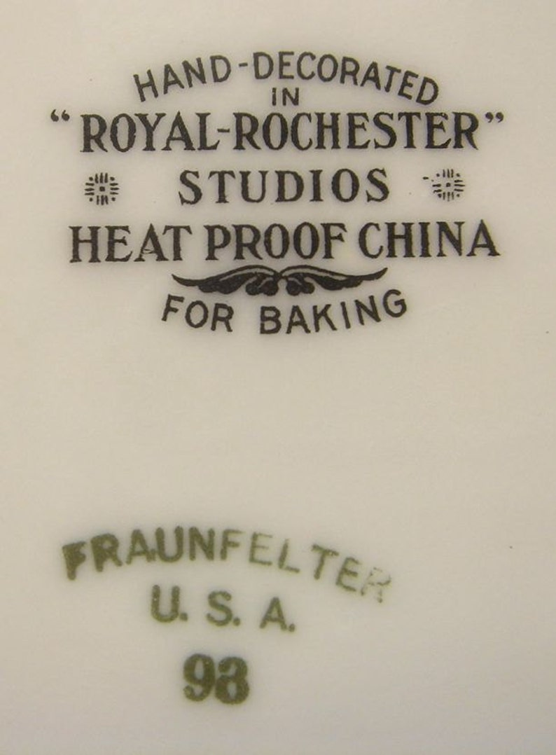 Royal Rochester Studios Heat Proof China Baking Dish with Opalescent Luster Glaze /& Gold Trim 1920s