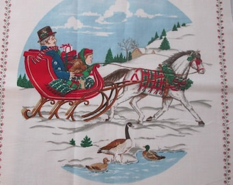 Quilt Block Vintage Christmas Xmas Sleigh Ride in the Snow Horses