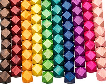 10 Geometric Wood Beads 20mm x 24mm Colored Rustic Polyhedron faceted cube wooden beads ECO Friendly DIY Wood Crafts large hole