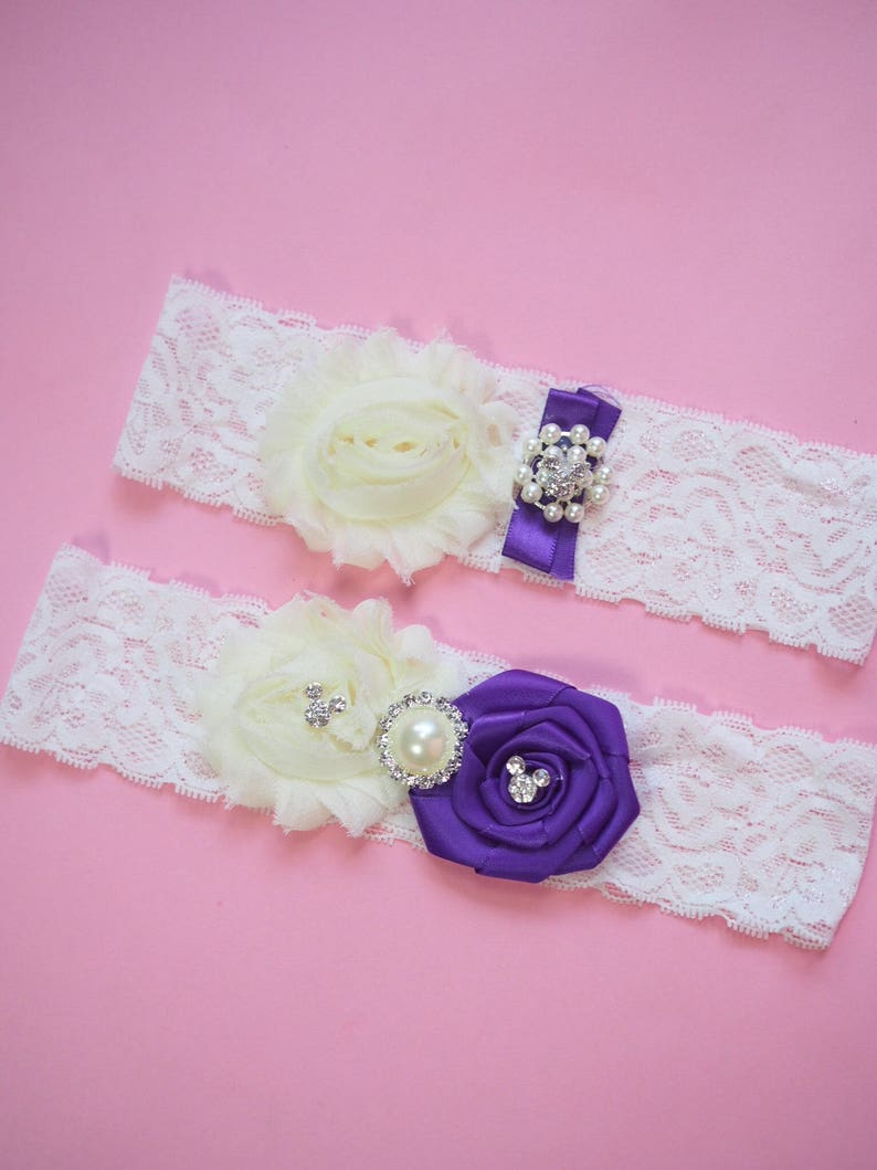 Purple and White Lace Garter Set with Mouse Ear Rhinestones