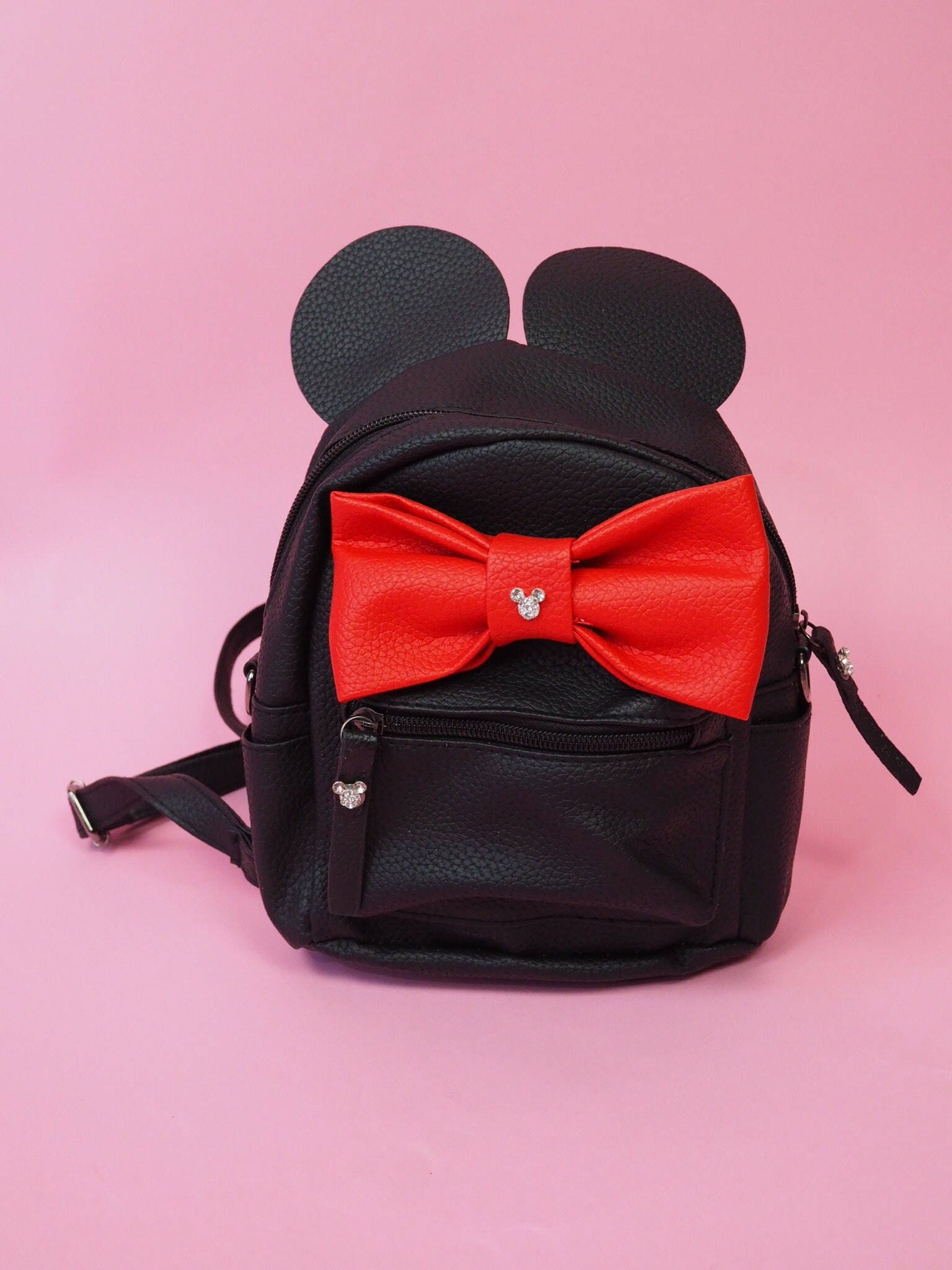 Disney Inspired Minnie Mouse Black Mini Backpack with Ears and