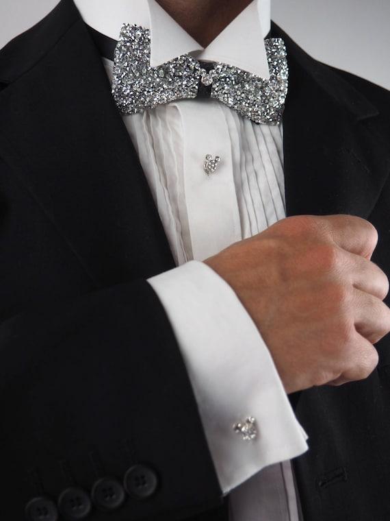 Mouse Ear Rhinestone Tuxedo Shirt Studs Cufflinks Etsy