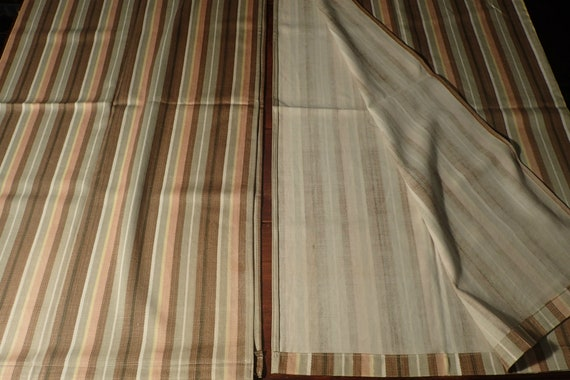 Vintage Panels (2) of Kitchen Curtains Cabin Decor Striped Subdued Colors  of Brown Sage Maze and Flesh 1 1/2\