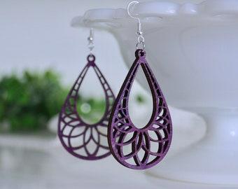 laser cut earrings, wooden earrings, laser cut wooden earrings, purple earrings, popular earrings, fall earrings, moroccan earrings