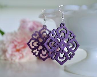 laser cut earrings, wooden earrings, laser cut wooden earrings, purple earrings, popular earrings, summer earrings, moroccan earrings
