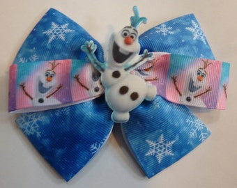 """Girls Hair Bow 4/"""" Wide Frozen Olaf Let It Go White Blue Olaf French Barrette"""