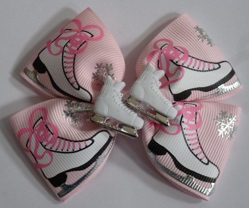 birthday and party bow 3 pair Skating pigtail bows Ready to ship 4 Ice Skating hair bow ICE SKATING BOW Girls Accessories sports bow