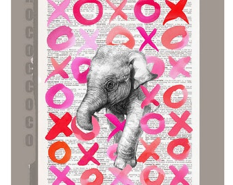 Kisses and Hugs from a Happy Elephant!!!! - Wall decor Unique Gift Mothers Day gift - Elephant wall hanging - Printed on dictionary page