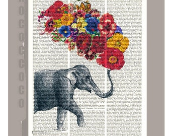 Elephant with Flowers -Wall decor, Unique Gift  Love book print - Elephant wall hanging - Printed on dictionary page