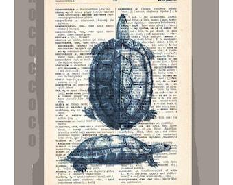 BlueTURTLE-ARTWORK  printed on Repurposed Vintage Dictionary page -Upcycled Book Print