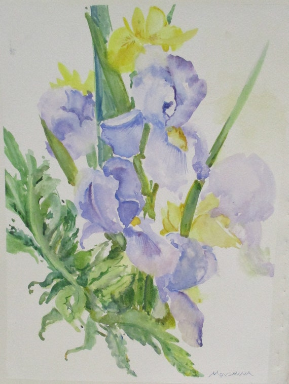 Wild Iris Flowers Original Watercolor Painting By Marina Etsy
