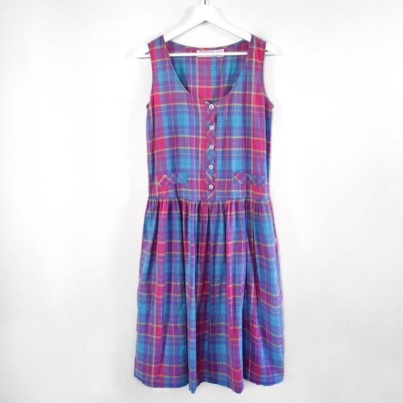 Vintage madras plaid tank dress (size S)