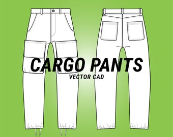 cargo pants with patch pockets & topstitch details CAD sketch digital illustration vector file (AI)