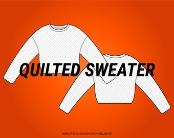 sweatshirt / sweater with quilted topstitch embroidery detail CAD sketch digital illustration vector file (AI)