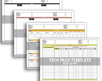 TECH PACK TEMPLATE 9 pages for fashion + apparel technical design / excel + pdf digital file downloads / measurement specs, grade rule, etc