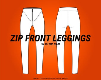 zip front leggings / slim riding pant CAD sketch digital illustration vector file (AI)