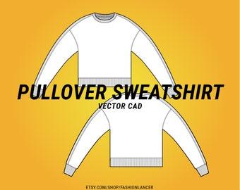 side panel crewneck pullover sweatshirt / sweater with raw seam details flat sketch CAD digital illustration vector file (AI)