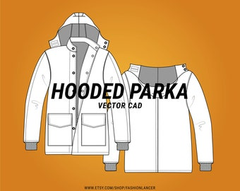 hooded parka jacket / outerwear coat with pockets CAD sketch digital illustration vector file (AI)