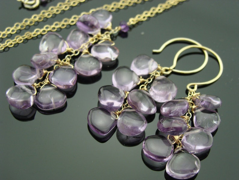 Amethyst Cascade 14K Gold Filled Gemstone Earrings and Necklace Set  Gift
