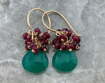 Green Chalcedony Ruby and Garnet 925 Sterling Silver or 14K Gold Filled Cluster Earrings  Gift