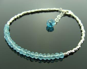 Blue Apatite 925 Sterling Sliver Hill Tribe Bracelet