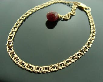 14K Solid Gold Bracelet with Ruby Drop